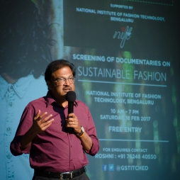 Prof V. Shivalingam, Director of NIFT, Bengaluru sets the tone for the GreenStitched Film Festival. Photo credit: Beheld