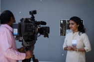 Roshni being interviewed by Doordarshan. Photo credit: Beheld